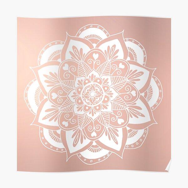 Flower Mandala on Rose Gold Poster
