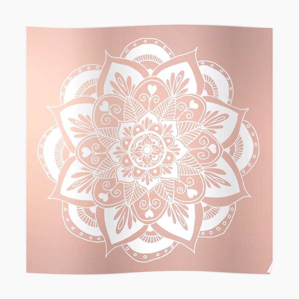 Blumenmandala auf Rosengold Poster