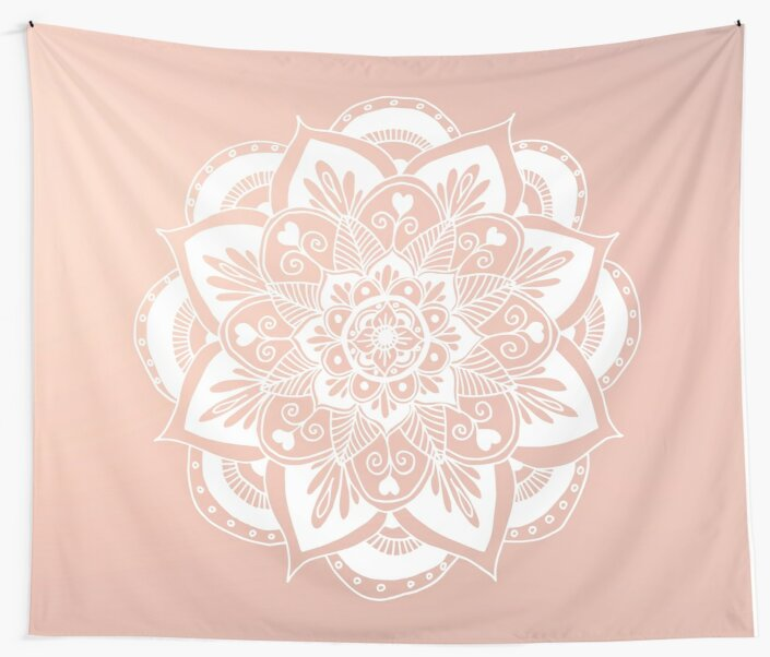 Flower Mandala on Rose Gold by julieerindesign