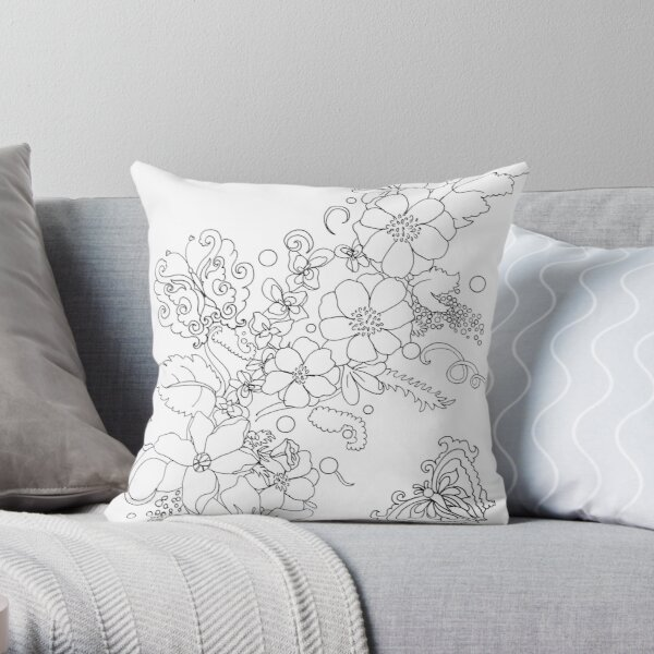 Spring flowers and butterflies -colorable design Throw Pillow