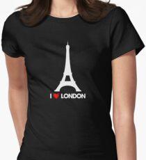 I Heart London Eiffel Tower - Joke T-Shirt  Women's Fitted T-Shirt