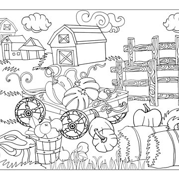 fall pumpkin cart and apples near farmhouse -colorable design by SimiRaghavan