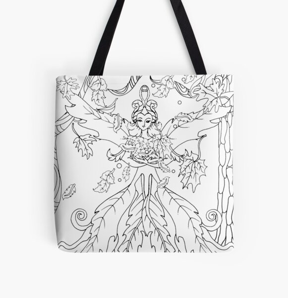 autumn fairy, fall fairy bringing in autumn in a leafy dress-colorable design All Over Print Tote Bag