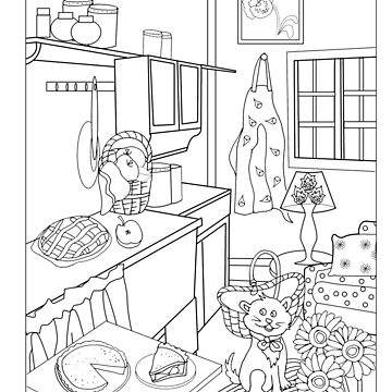 cat in fall kitchen with apple pie and pumpkin pie - colorable design by SimiRaghavan