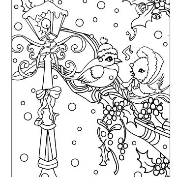 birds on snow tree branch,mistletoe and lamp post.perfect christmas vintage colorable design by SimiRaghavan