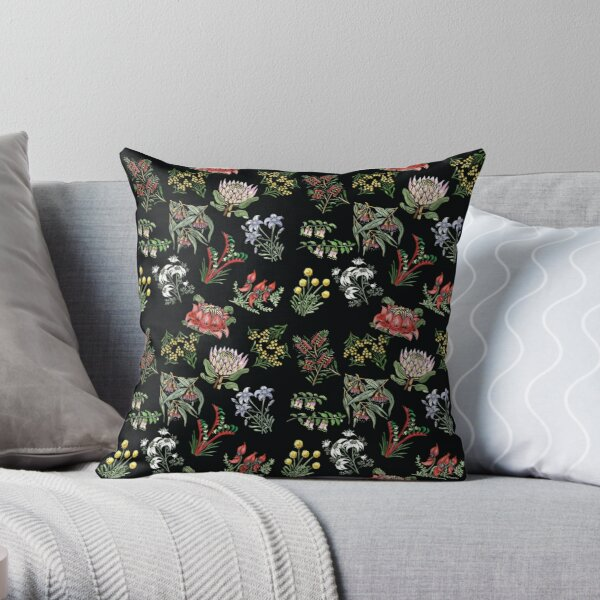 Native Flower Lino Print Throw Pillow