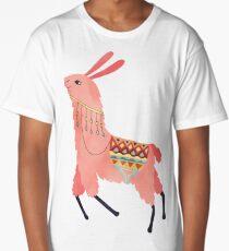 Cute Lama Sticker Long T-Shirt