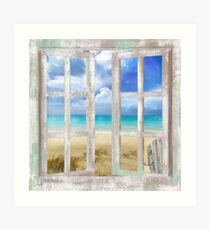 Caribbean Cottage tropical beach house window, coastal art Art Print