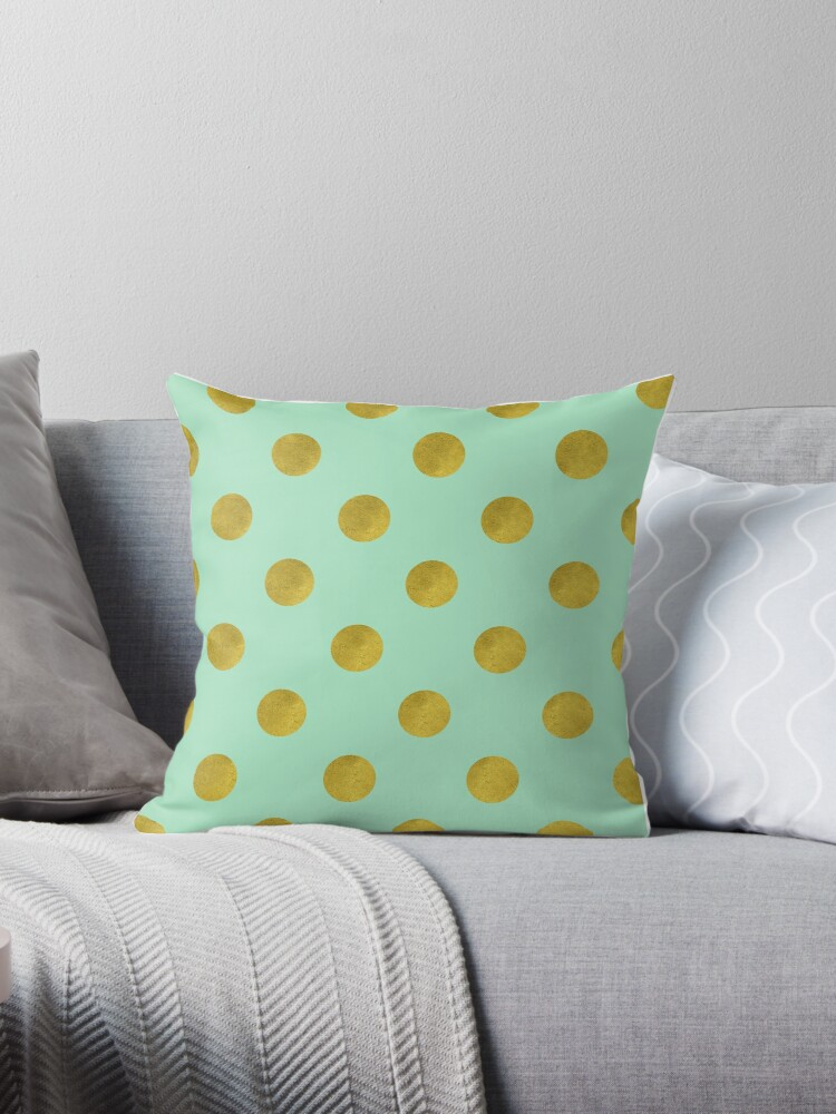 Classic pattern with faux Gold foil polka dots on mint green by Glimmersmith