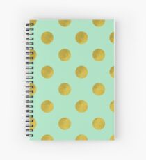 Classic pattern with faux Gold foil polka dots on mint green Spiral Notebook