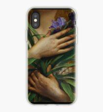 Frau, die Irisblumen, französische Präraffaelitenmalerei hält iPhone-Hülle & Cover