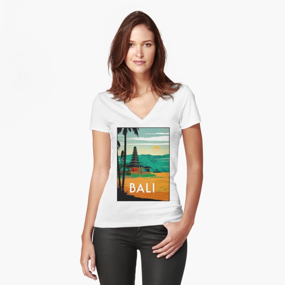 BALI: Publicidad publicitaria de viajes y turismo vintage Camiseta entallada de cuello en V