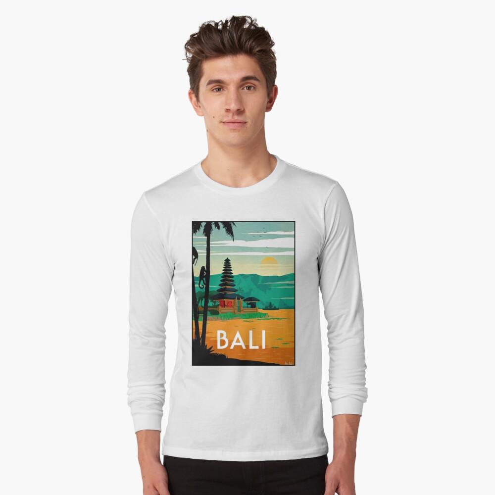 BALI: Publicidad publicitaria de viajes y turismo vintage Camiseta de manga larga