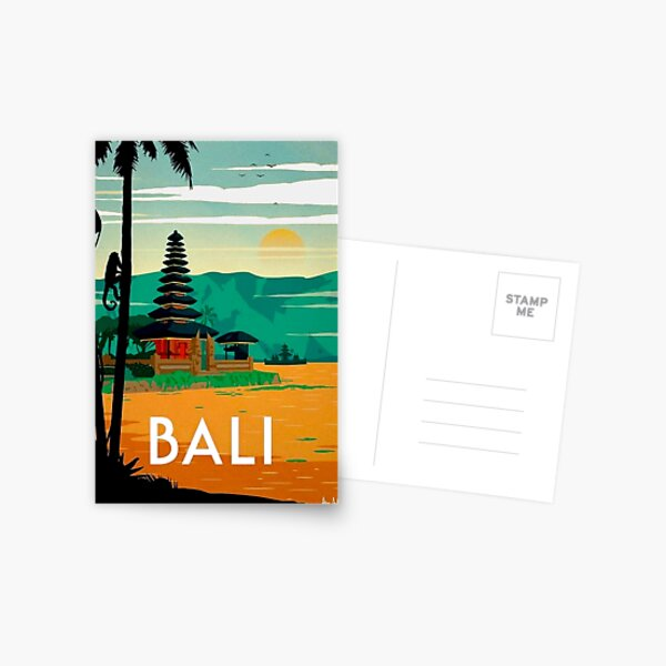 BALI : Vintage Travel and Tourism Advertising Print Postcard
