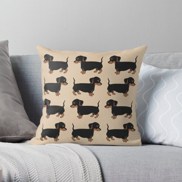 Black and Brown Dachshunds Pattern Throw Pillow