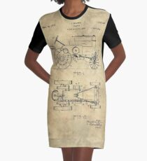 Antique Tractor blueprint patent drawing plan from 1929, Industrial farmhouse Graphic T-Shirt Dress