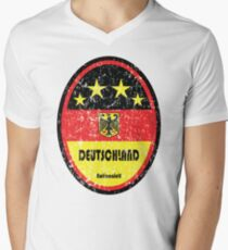 Football - Germany (Distressed) Men's V-Neck T-Shirt