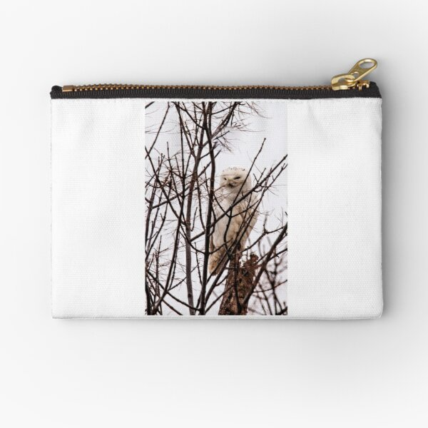 Snowy Owl Trying to Hide Zipper Pouch