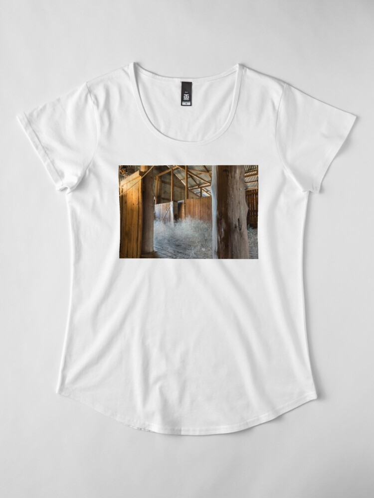 Alternate view of Old Shearing Shed Premium Scoop T-Shirt