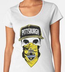Pittsburgh Skull T shirt Pittsburgh City Flag Black Yellow Women's Premium T-Shirt