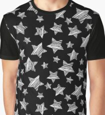 Lucky Stars Sketchy Pattern -  White On Black Graphic T-Shirt
