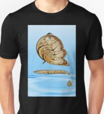 Surreal Alarm clock transforming and thawing in blue water ripples. T-Shirt