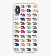 Whimsical Elephant Floral Aztec Chevron Patterns iPhone Case