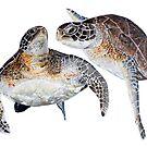 Two Brown Turtles by Kathie Nichols