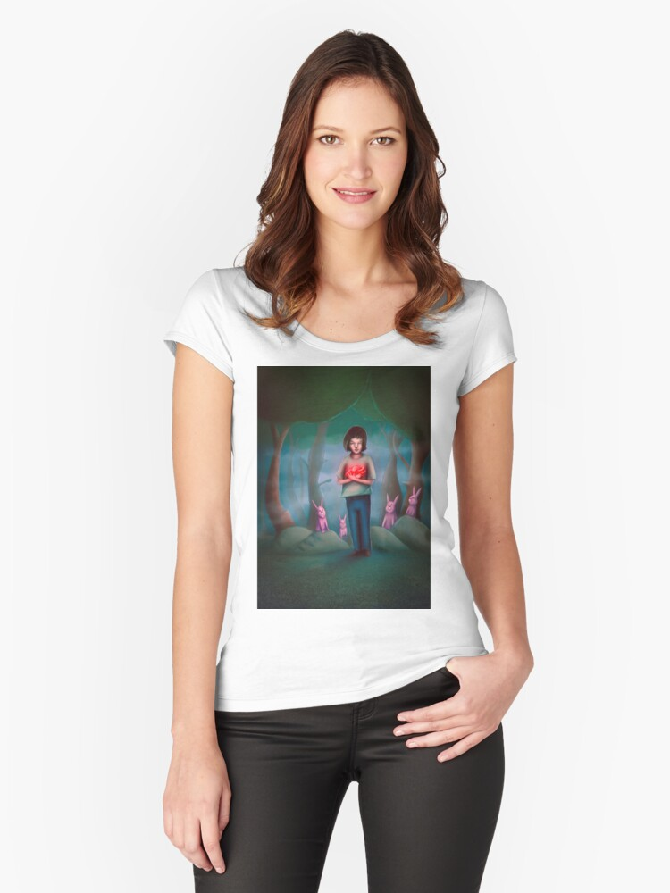 Boy Holding his Big Heart  Women's Fitted Scoop T-Shirt Front