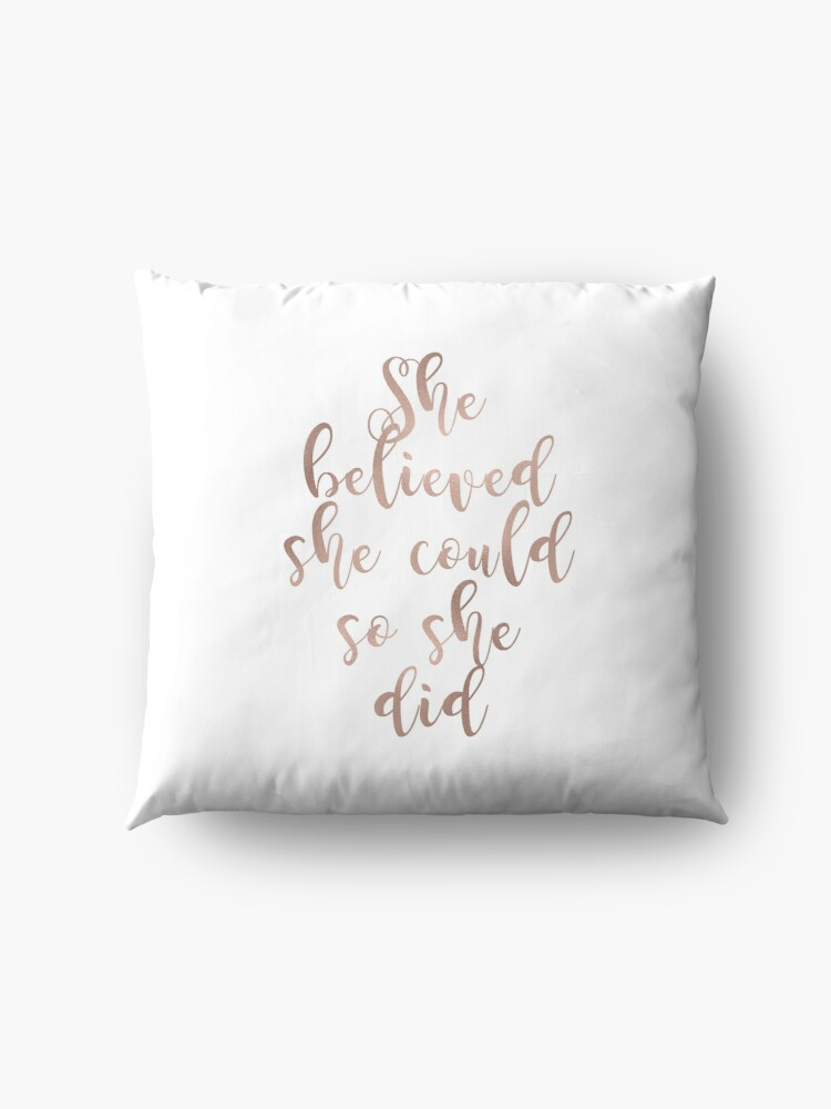 Alternate view of Rose gold she believed she could so she did Floor Pillow