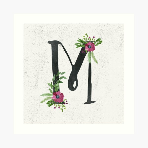 Monogram M with Floral Wreath Art Print