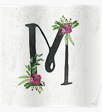 Monogram M with Floral Wreath Poster