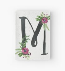 Monogram M with Floral Wreath Hardcover Journal