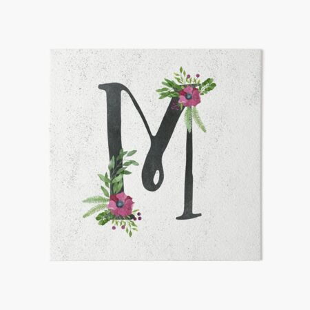 Monogram M with Floral Wreath Art Board Print