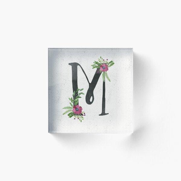 Monogram M with Floral Wreath Acrylic Block