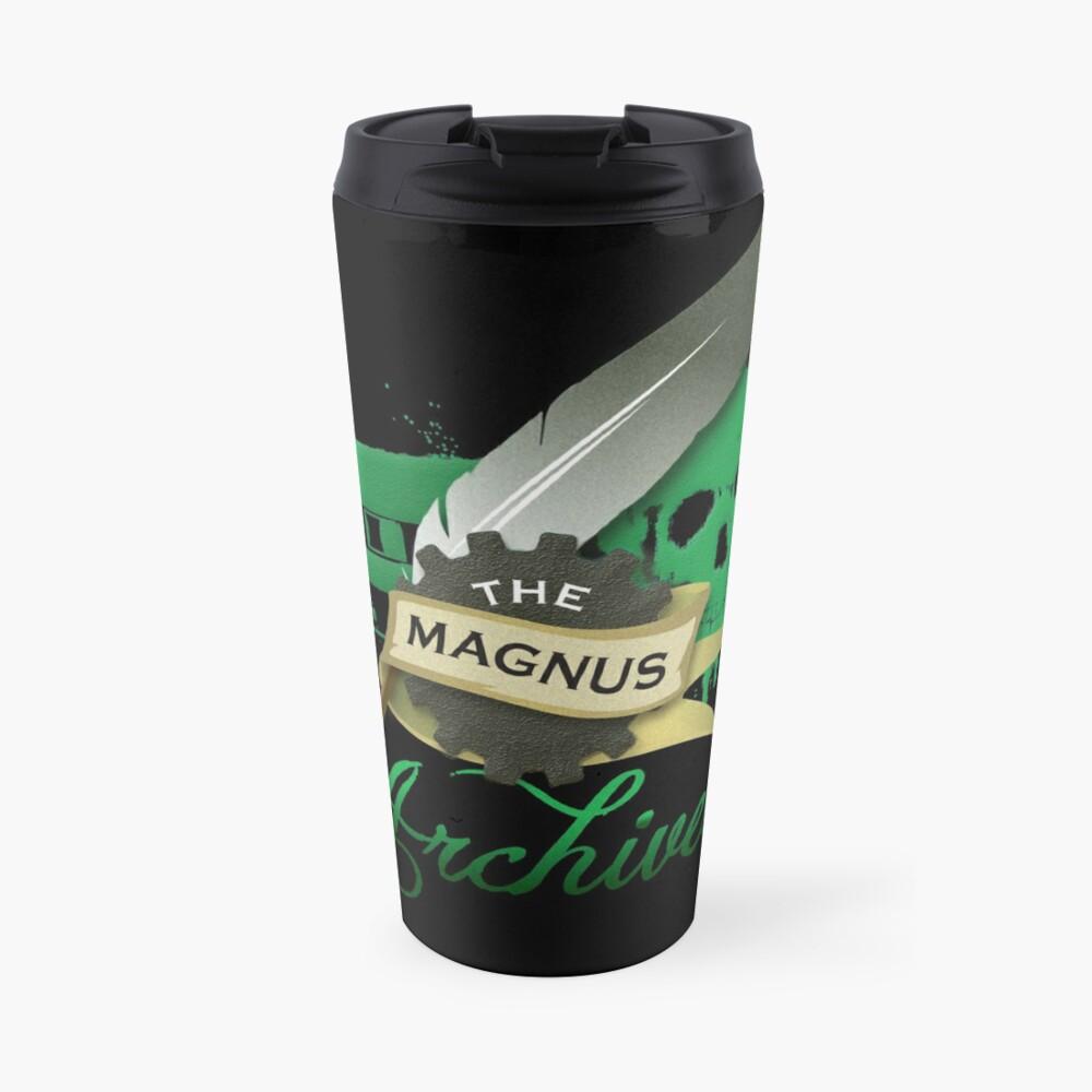 El logotipo de Magnus Archives Taza de viaje