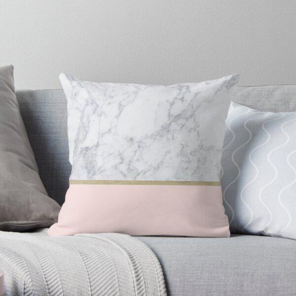 Marble Gold Blush Pink Pattern Throw Pillow