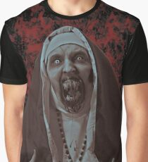 Halloween Scary Nun Graphic T-Shirt
