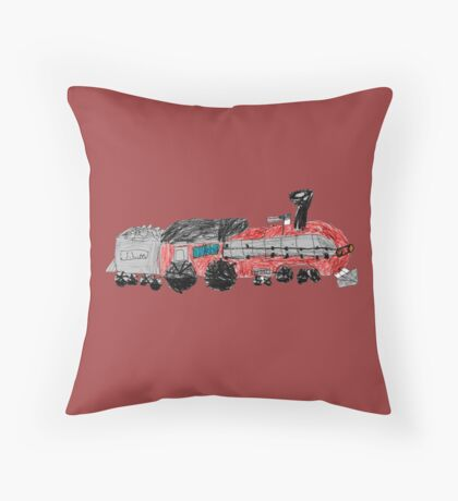 a train drawn by a kid Throw Pillow