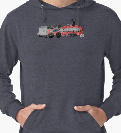 a train drawn by a kid Lightweight Hoodie