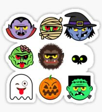 MONSTER FACES Halloween Emoji Shirt Skeleton Dracula Costume Sticker