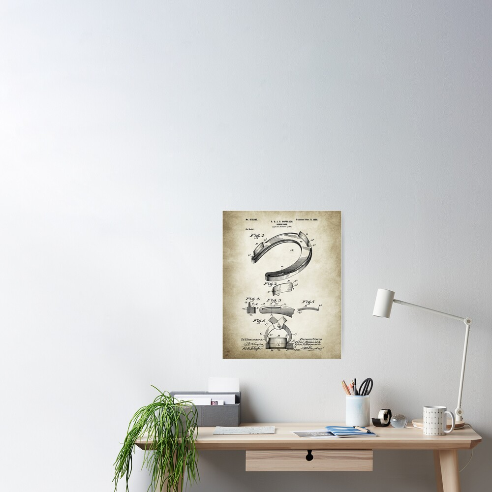 Horseshoe Patent Poster Vintage Paper Background Poster