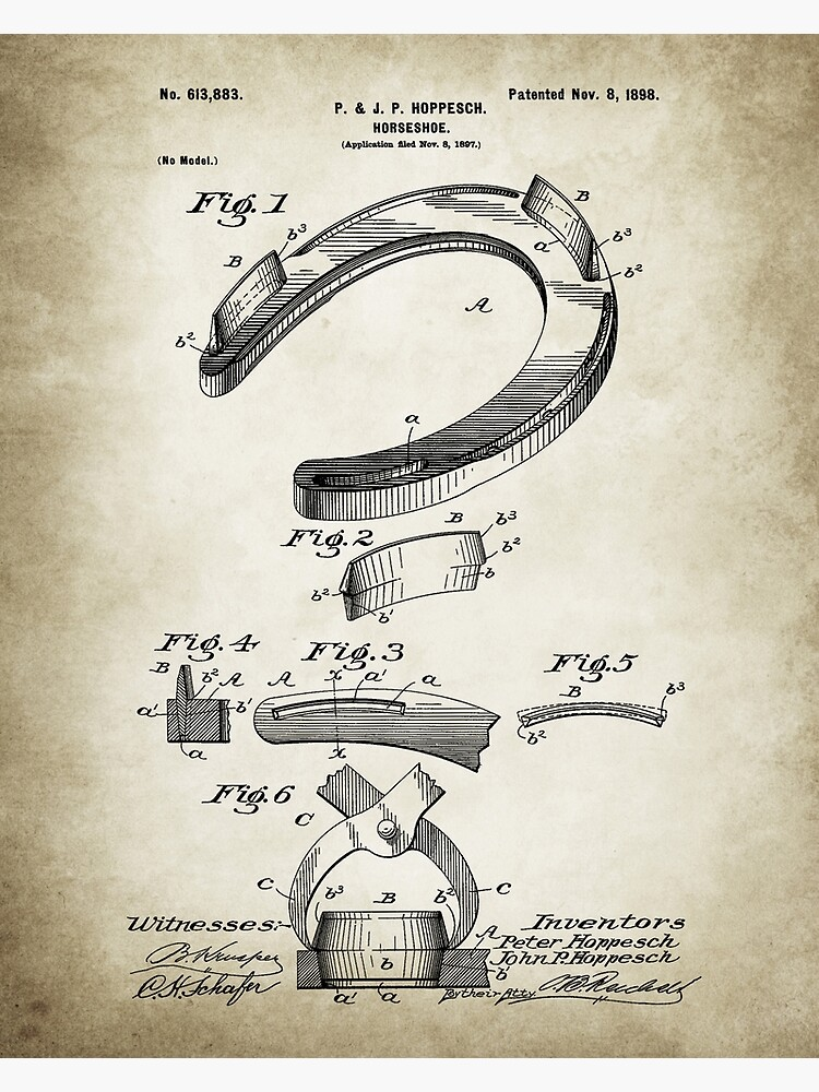 Horseshoe Patent Poster Vintage Paper Background by Goshadron