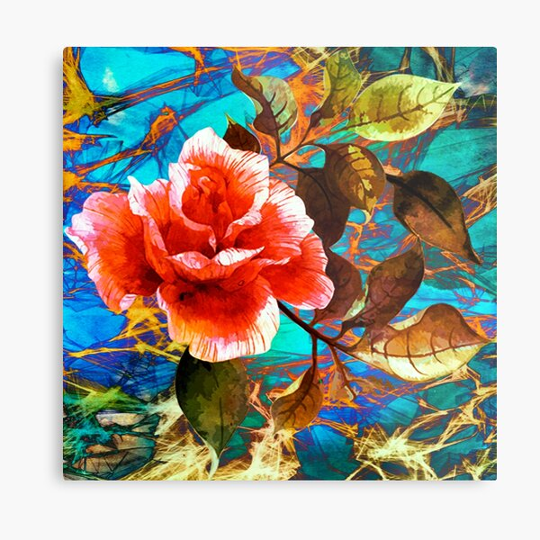 rose sur fond abstrait/rose on abstract background Metal Print