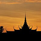 Temple shape in sunrise - Cambodia by Christophe Dur