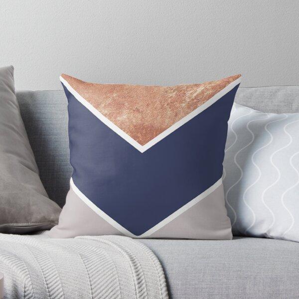 Scandinavian Copper Navy Gray Geometric Pattern Throw Pillow