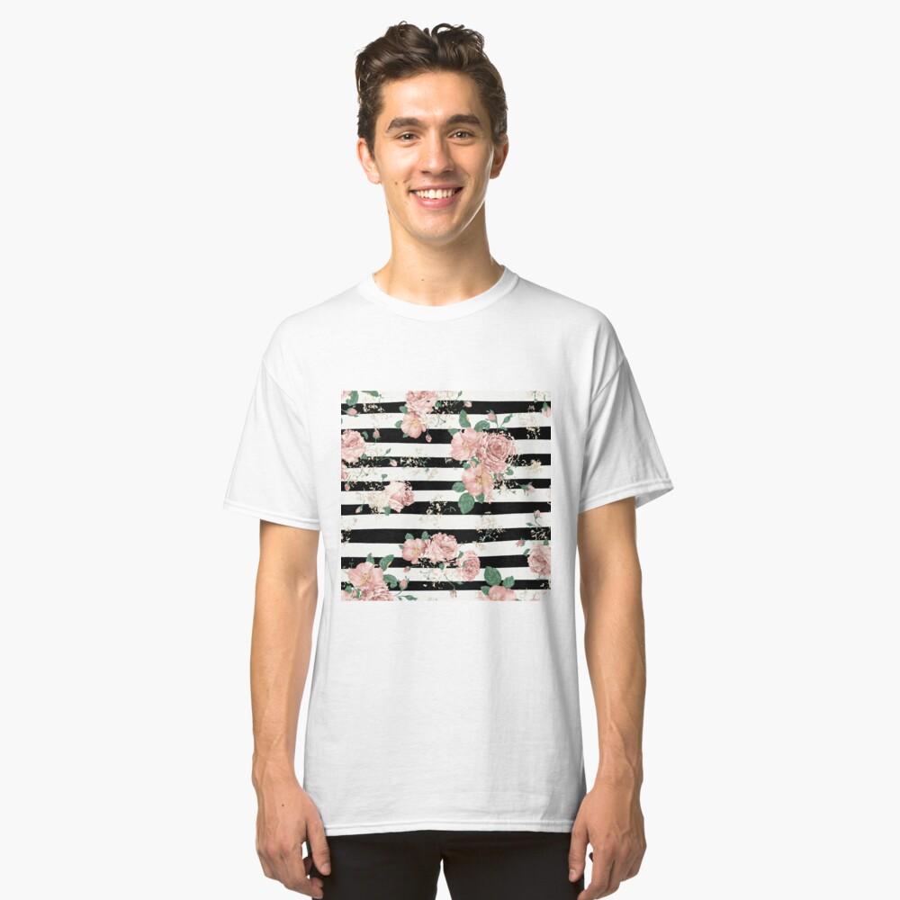 VINTAGE FLORAL ROSES BLACK AND WHITE STRIPES Camiseta clásica