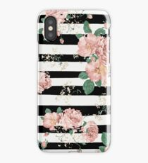 VINTAGE FLORAL ROSES BLACK AND WHITE STRIPES iPhone Case/Skin