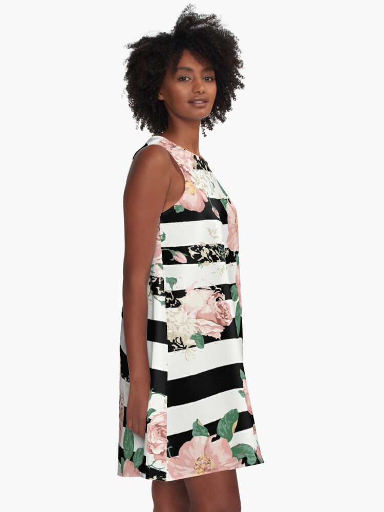 Vista alternativa de Vestido acampanado VINTAGE FLORAL ROSES BLACK AND WHITE STRIPES