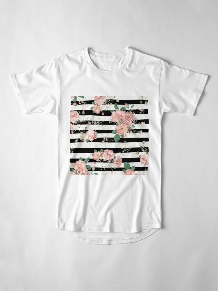 Vista alternativa de Camiseta larga VINTAGE FLORAL ROSES BLACK AND WHITE STRIPES